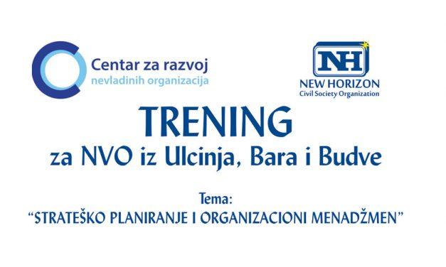 Trening za NVO iz Ulcinja, Bara i Budve – Poziv za prijavu
