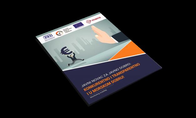 Nova publikacija: Monitoring izvještaj – JAVNI NOVAC ZA JAVNO DOBRO